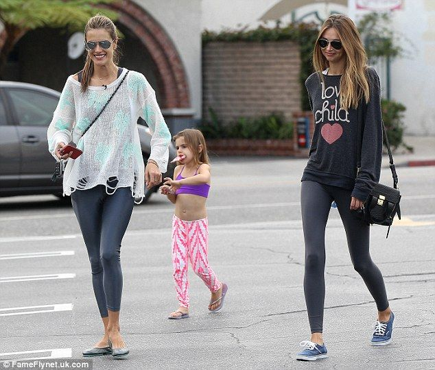 Alessandra Ambrosio and her daughter with sister, Aline.. lookalike casual chic style..