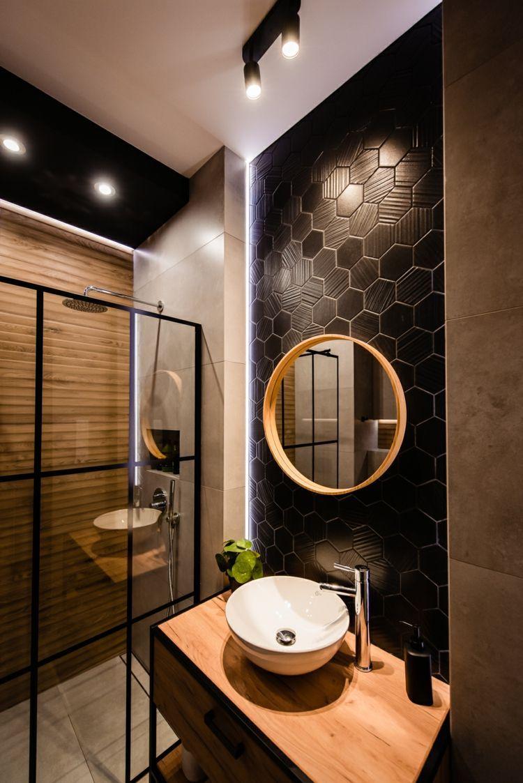 Schwarze Hexagon Fliesen Als Akzentwand Und Industrial Style