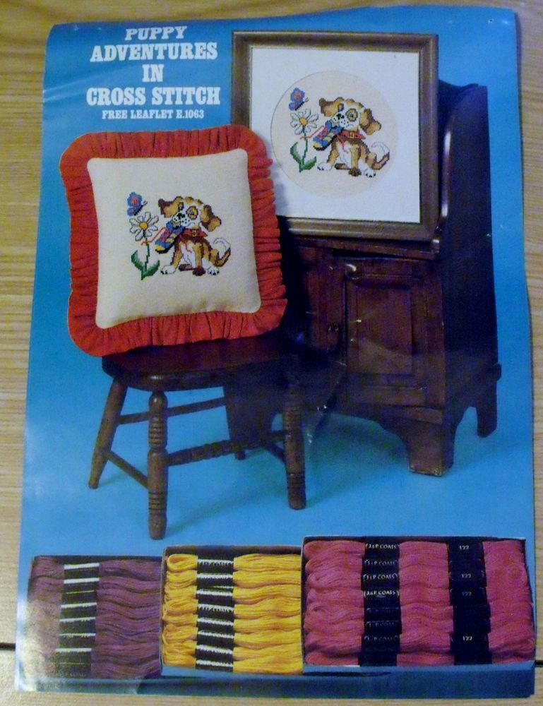 Coats & Clark Leaflet PUPPY ADVENTURES IN CROSS STITCH E.1063 1979 USA