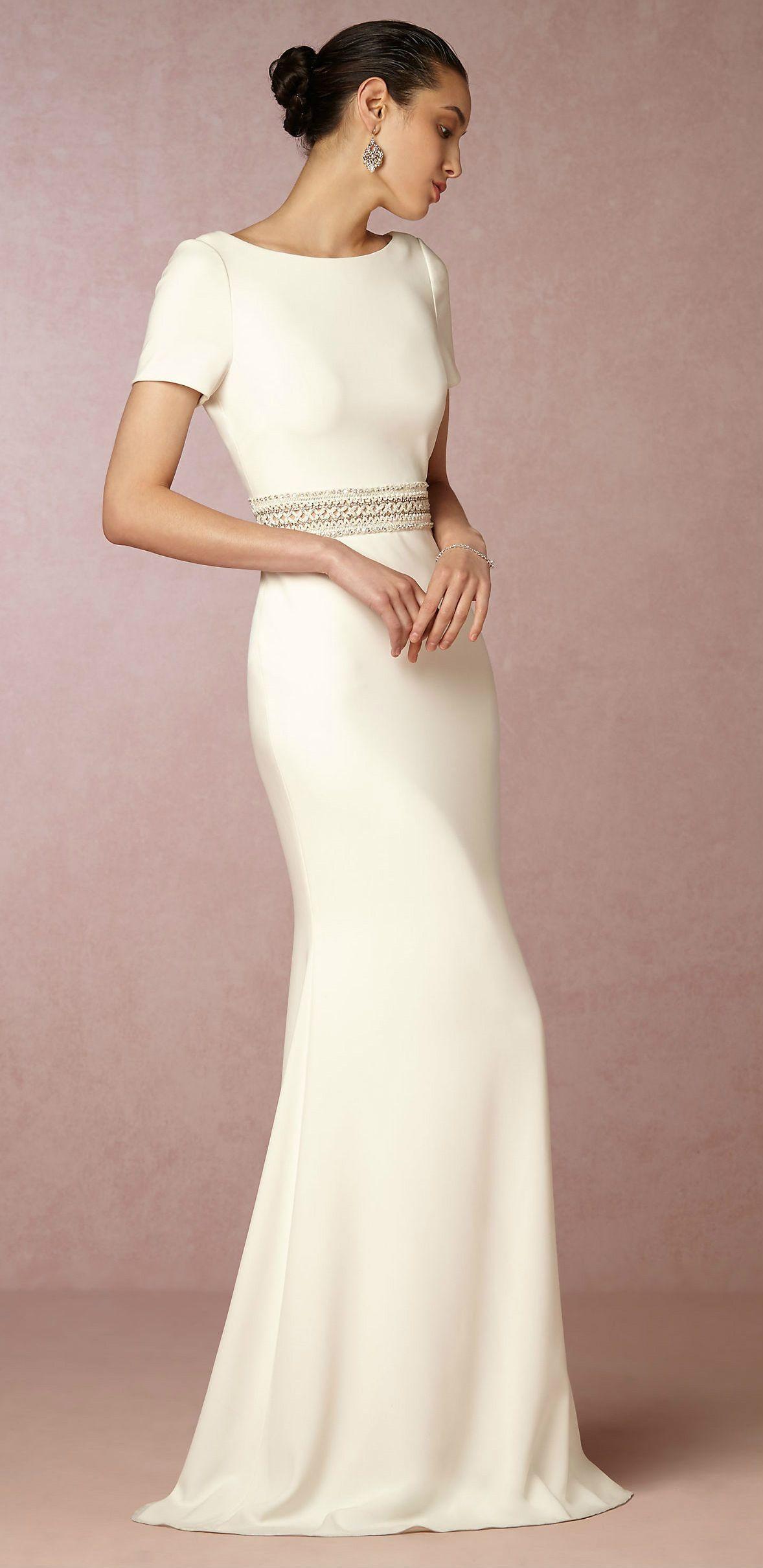 ab2cfaa6b9f Short sleeve sleek wedding dress. New wedding dresses from BHLDN. Alice Gown .