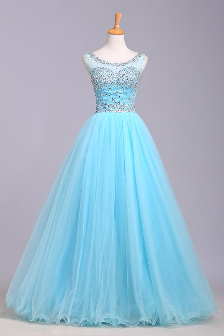 Light blue prom dresses tulle prom dress modest prom gown for Wedding dress with lights