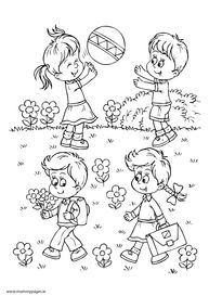 Children Playing Snow In Winter Coloring Page With Images