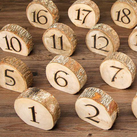 Photo of Set of 20 Natural Wood Slice Table Numbers – 4″ Wide