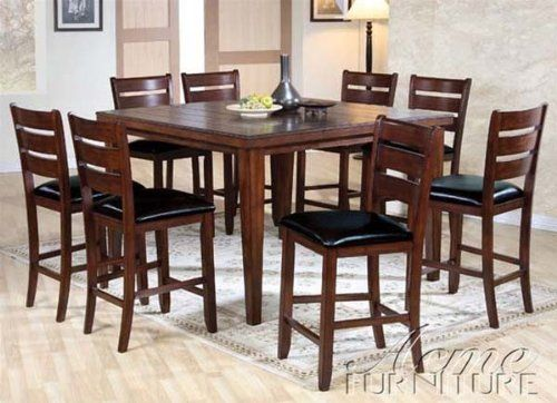 Complete Eetkamer Set.9pc Counter Height Dining Table Stools Set In Cherry Finish 700 38