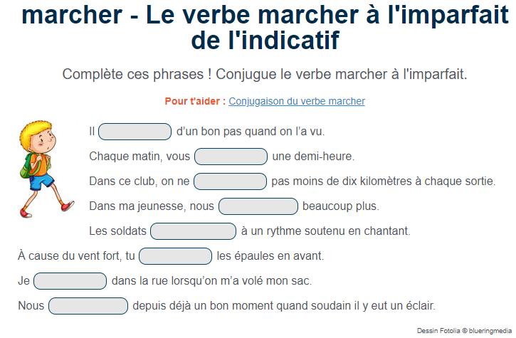 Exercice Le Verbe Marcher A L Imparfait De L Indicatif Verbe Marcher Verbe Exercice De Francais Cm1