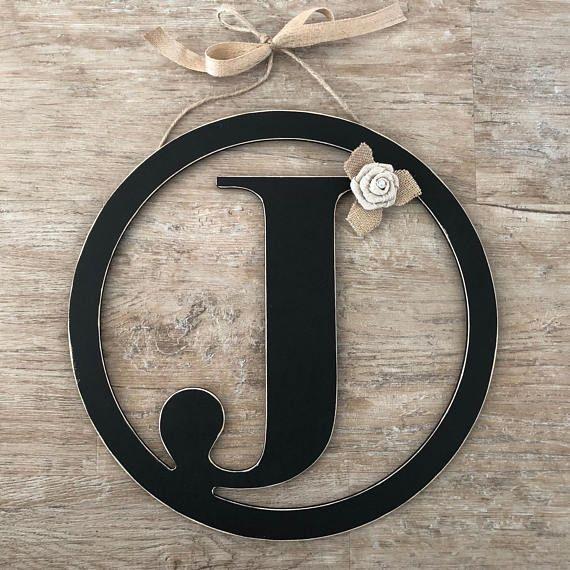Rustic Distressed Initial Circle Letters Rustic Country Black Door