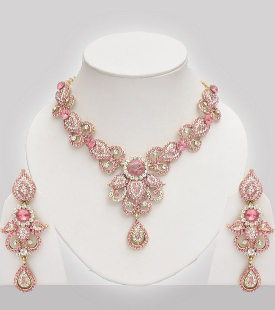 Pink Jewellery Set Studded With Austrian Diamond Indian Jewelry