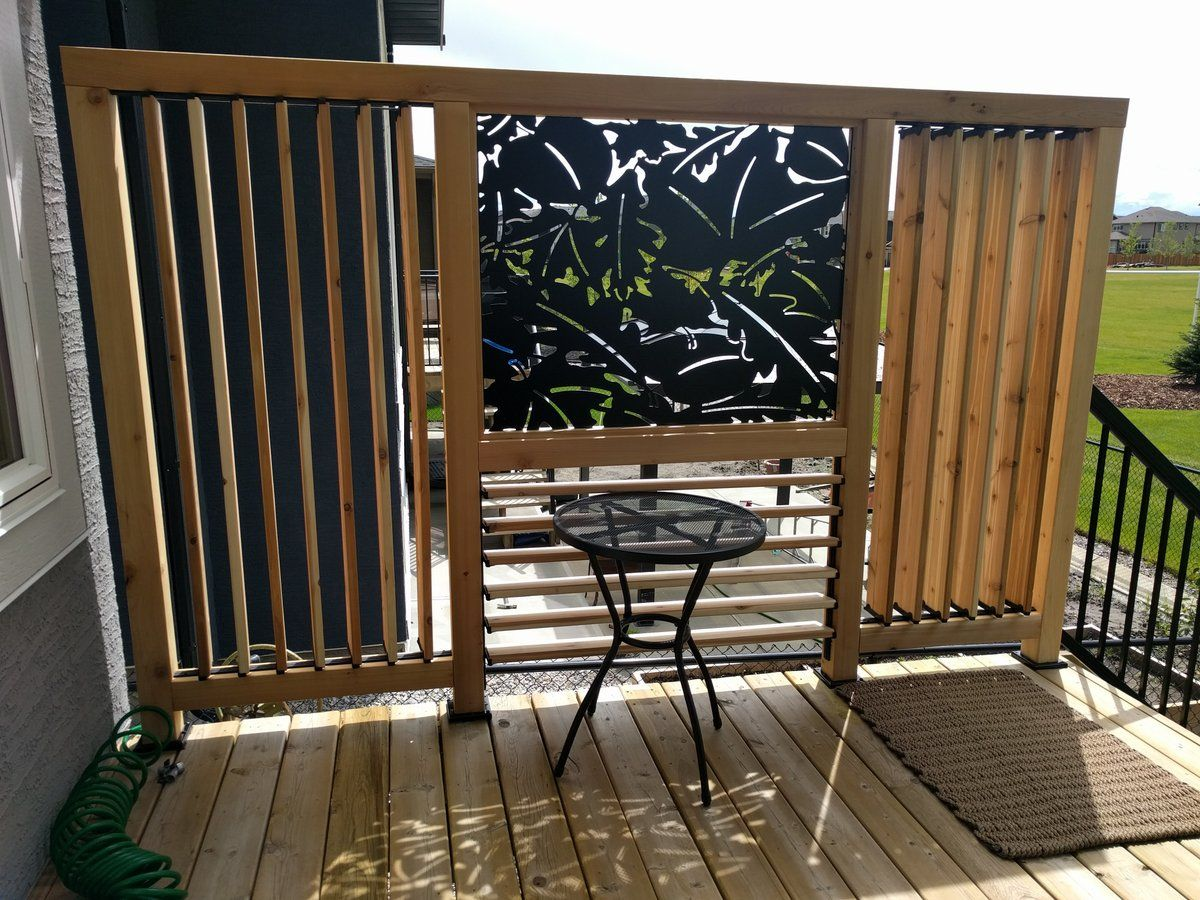 Vertical and horizontal louvered privacy enhanced deck for Small patio privacy screens