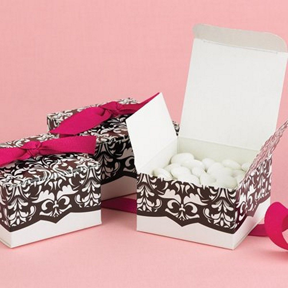 Black and White Flourish Design Favor Boxes - 2.5in. X 2.5in. X 1.5 ...