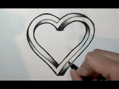 Love Heart Simple Way Of Drawing An Amazing 3d Heart Comment Dessiner Un Coeur Dessin Coeur Dessin De Coeur