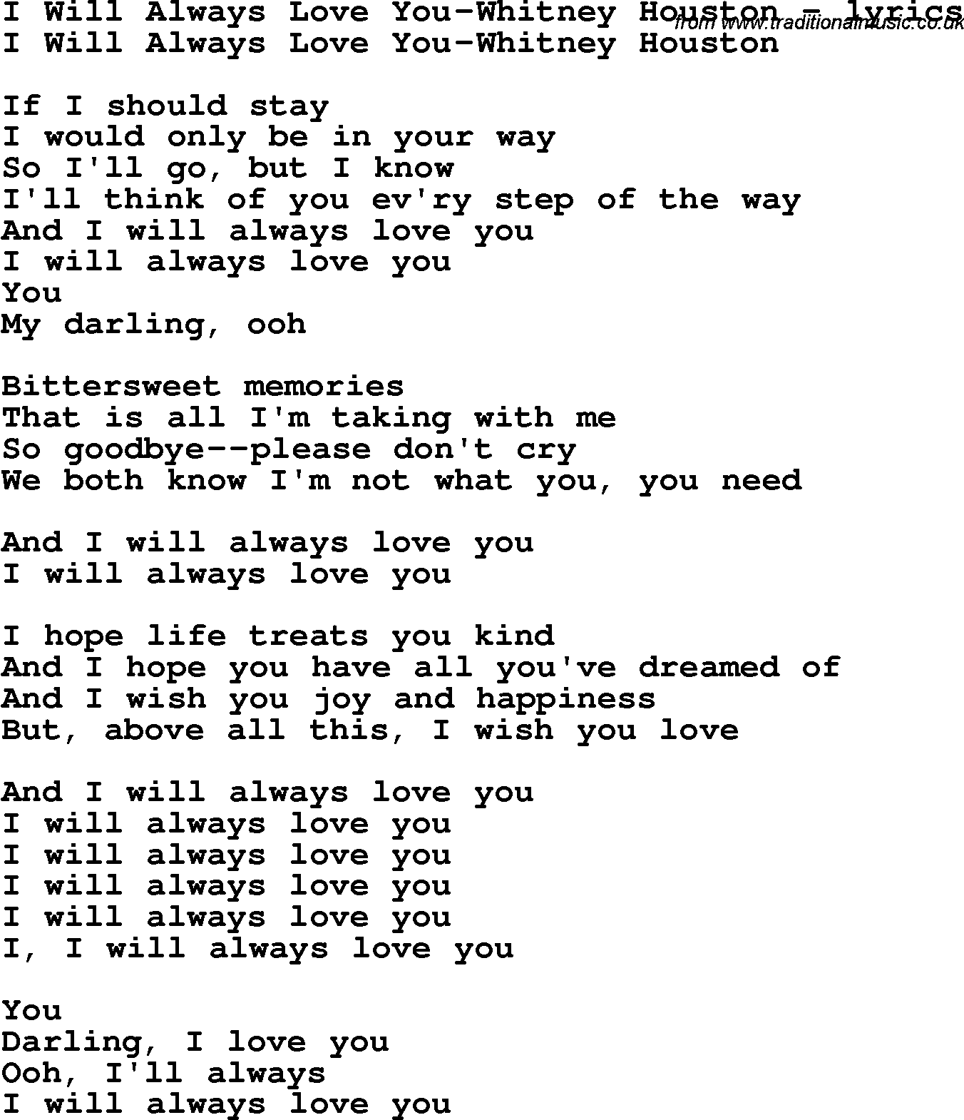 whitney houston i will always love you lyrics i love the words in this song and also her. Black Bedroom Furniture Sets. Home Design Ideas