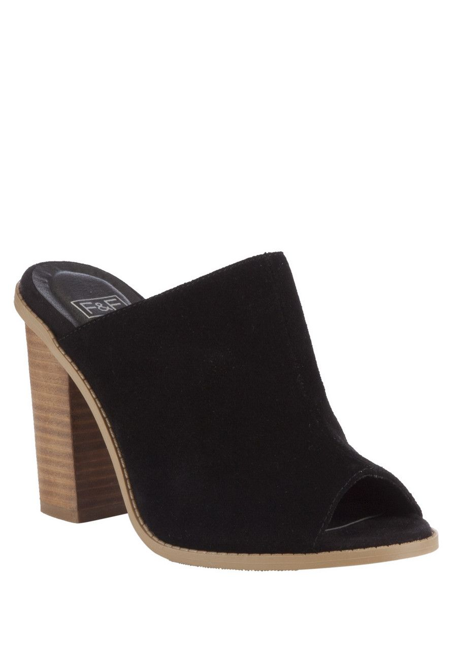 clothing at tesco f f suede block heel mules shoes. Black Bedroom Furniture Sets. Home Design Ideas