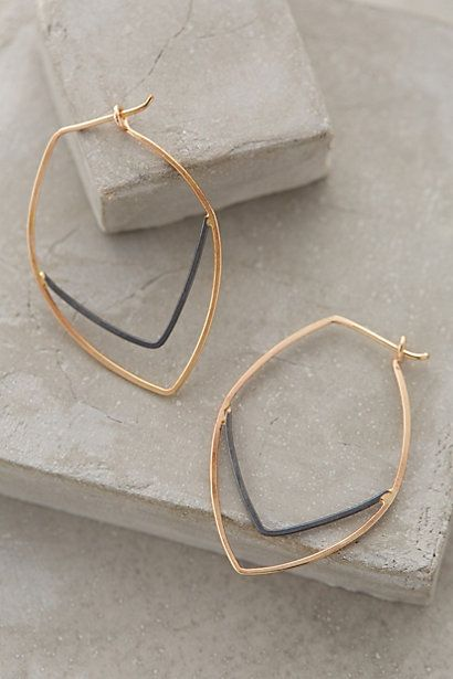 Linear Leaf Hoops #anthropologie obsessed with Anthropologie <3