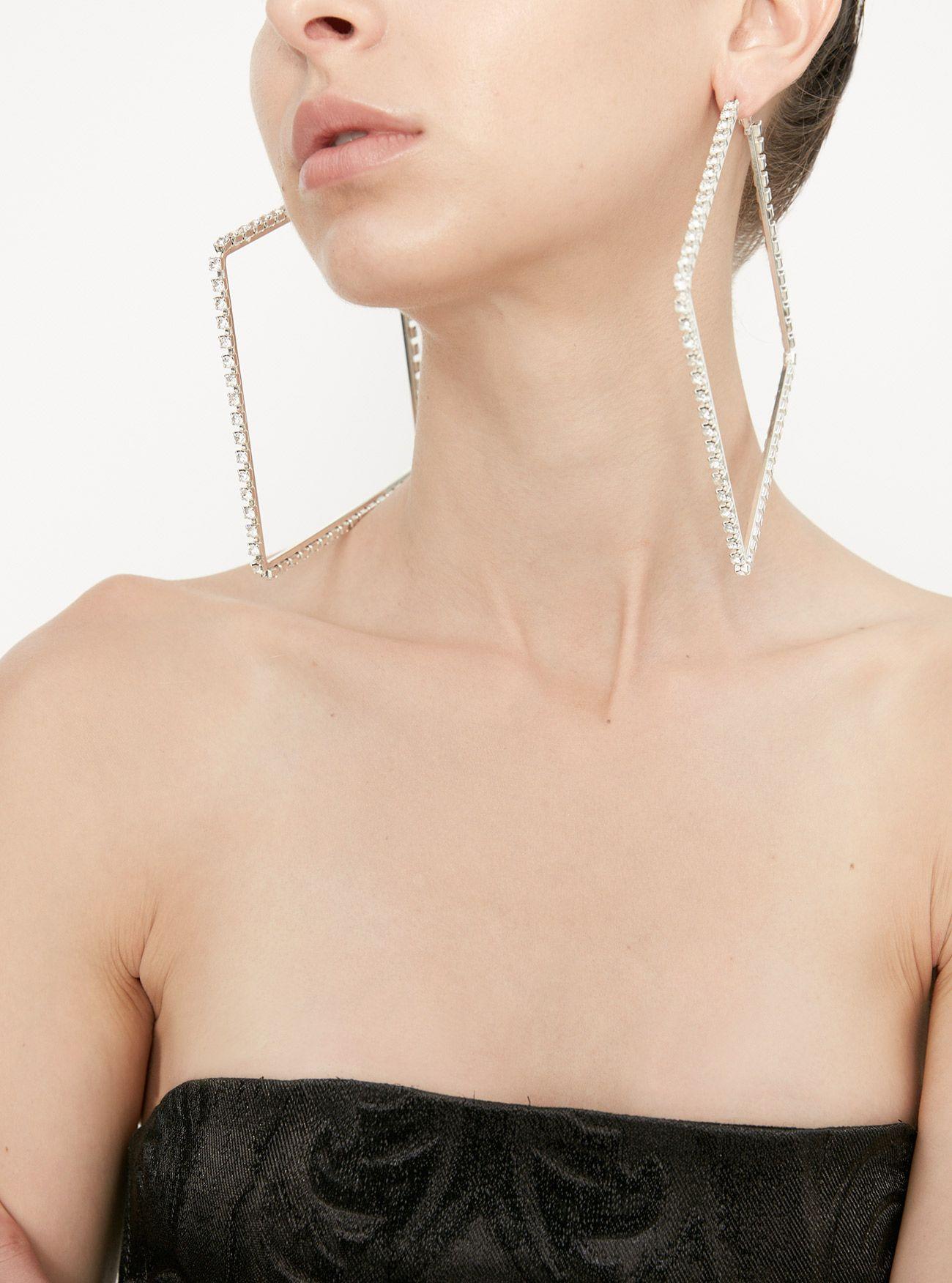 1ca6b6263edba3 Rhinestone Square Hoop Earrings | ❌⭕DREAM buys❌⭕ | Earrings ...