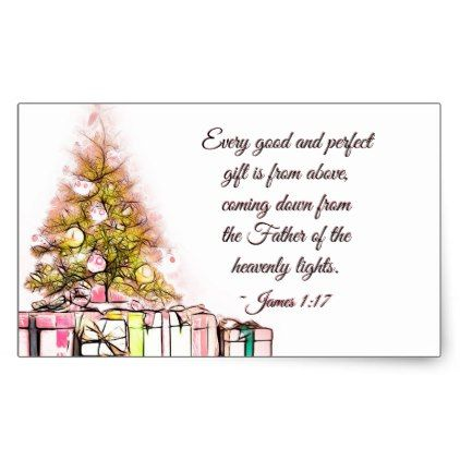 Every Good and Perfect Gift James 117, Christmas Rectangular Sticker - printable christmas gift certificate