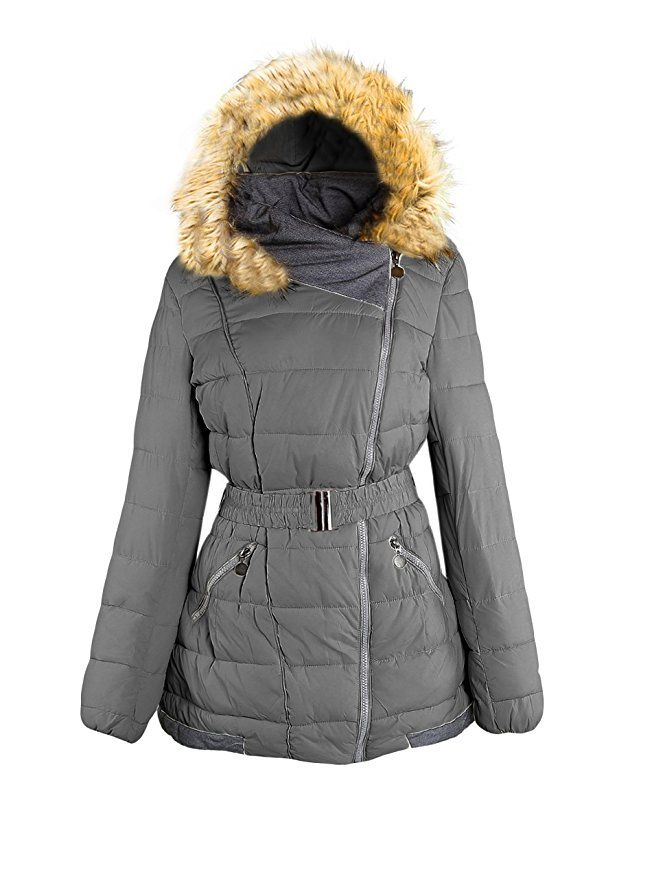 Alipolo Women S Winter Plus Size Hooded Fur Collar Thick Padded