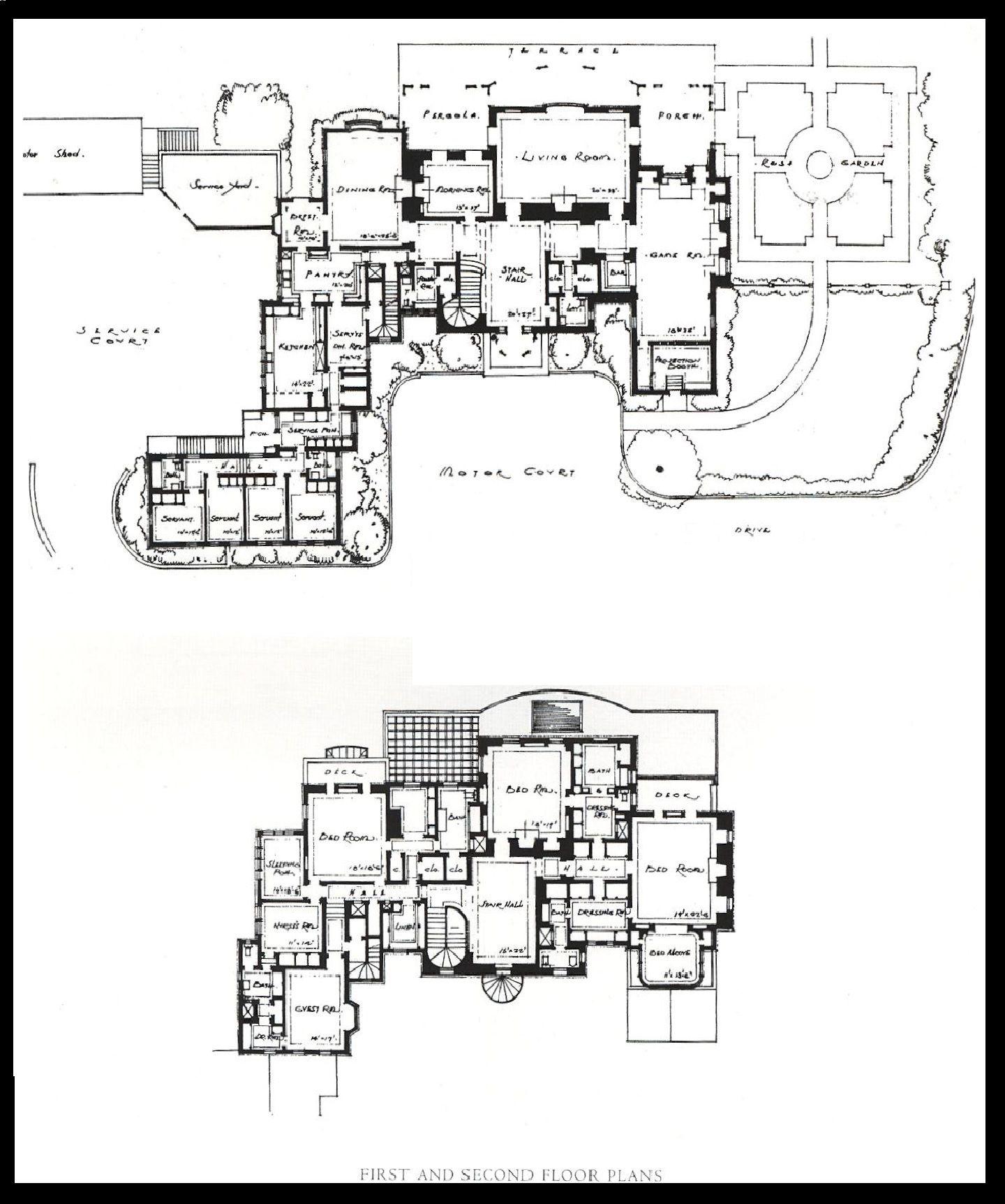 David O Selznick Residence Floor Plan Mansion Floor Plan Building Plans House Dream House Plans