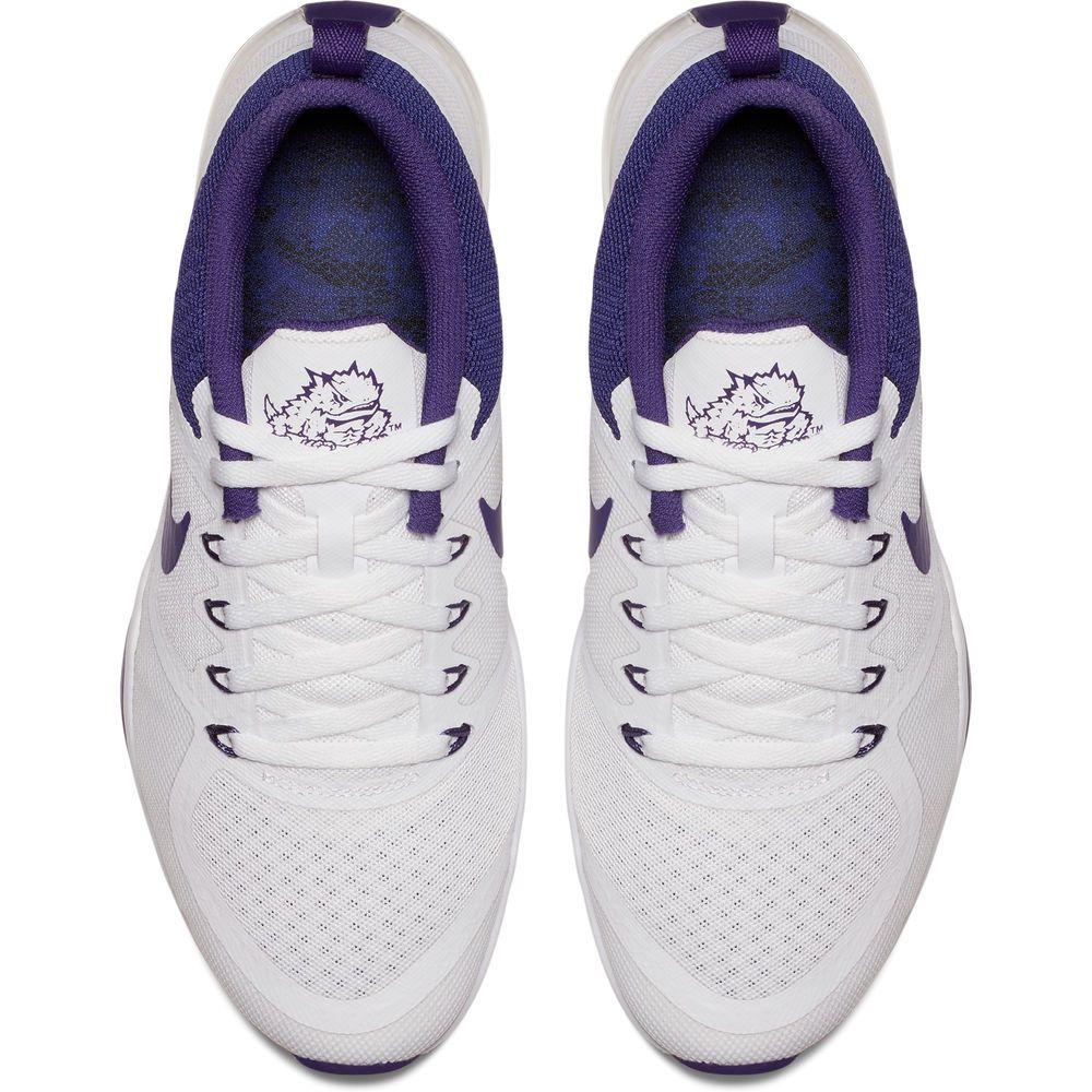 Women s Nike White TCU Horned Frogs Air Zoom Week Zero Shoes ... 7622b843e0b4