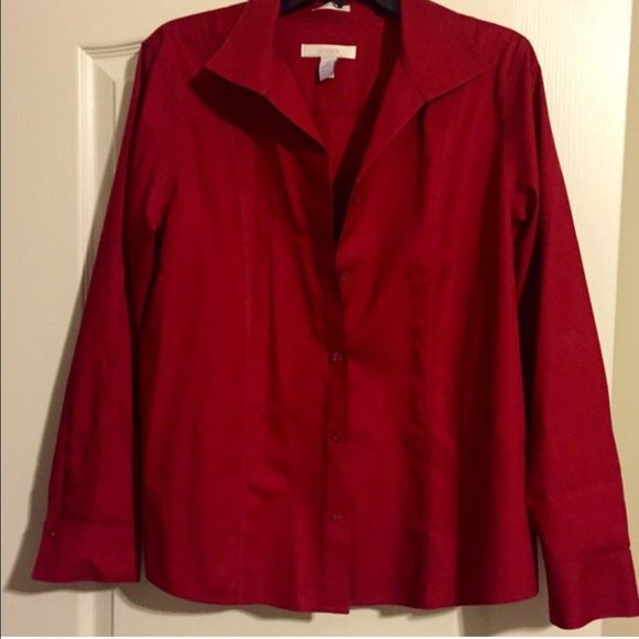 Like new! Chico's no iron button up l/s shirt! Red Chico's no iron button up longsleeve shirt is a breeze to take care of! Put it in the wash, in the dryer, & comes out wrinkle free & no need to ever iron. One of their most popular shirts, they carry every year. Button up or wear it open with a tank! Most roll the sleeves but you can keep them long and button them at cuff. Pics show both! Also have in blue. Chico's Tops Button Down Shirts