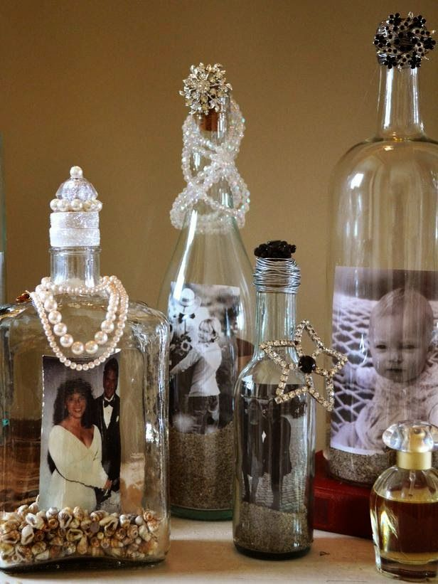 How to decorate your old alcohol bottles into photo frame - How to decorate glass bottles ...