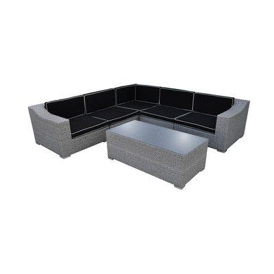 SolisPatio San Mateo 6 Piece Seating Group with Cushion Finish: Cement Gray, Fabric: Black