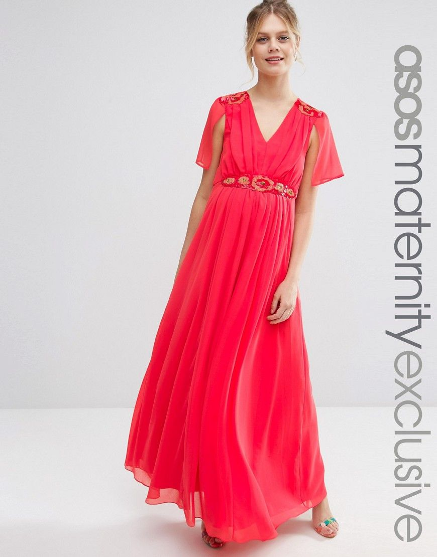 Asos maternity embellished cape back maxi dress red products