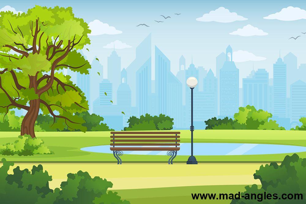 Summer City Park Panorama Vector Illustration Anime Background Animation Background Cartoon Background