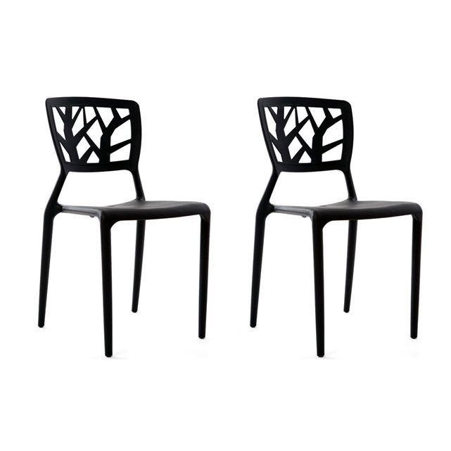 Chaises Design Empilables Interieur Exterieur Lot De 2 Katia Chaise Noire Chaise Design Mobilier De Salon