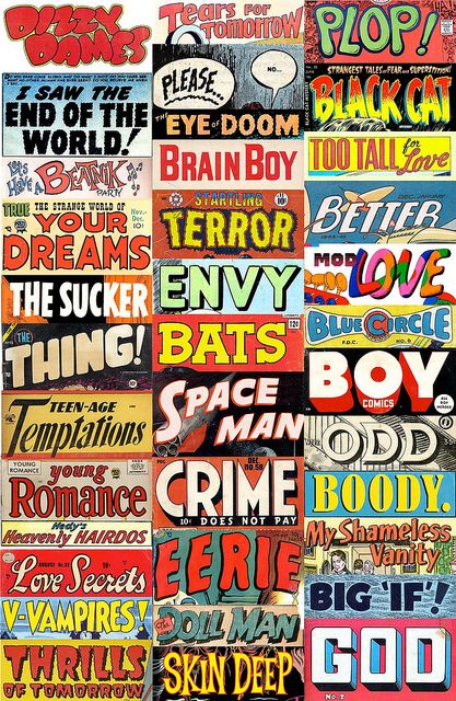 Pulp Poetry Stickers Lettering Vintage Typography Comic Font