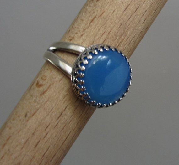 Blue Agate ring  Sterling Silver stone Ring  Adjustable by Kagun
