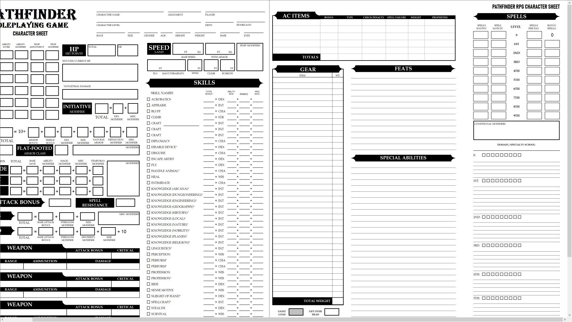 image relating to Pathfinder Printable Character Sheet identified as Pattern Pathfinder individuality sheet. SheetScribe is currently being employed