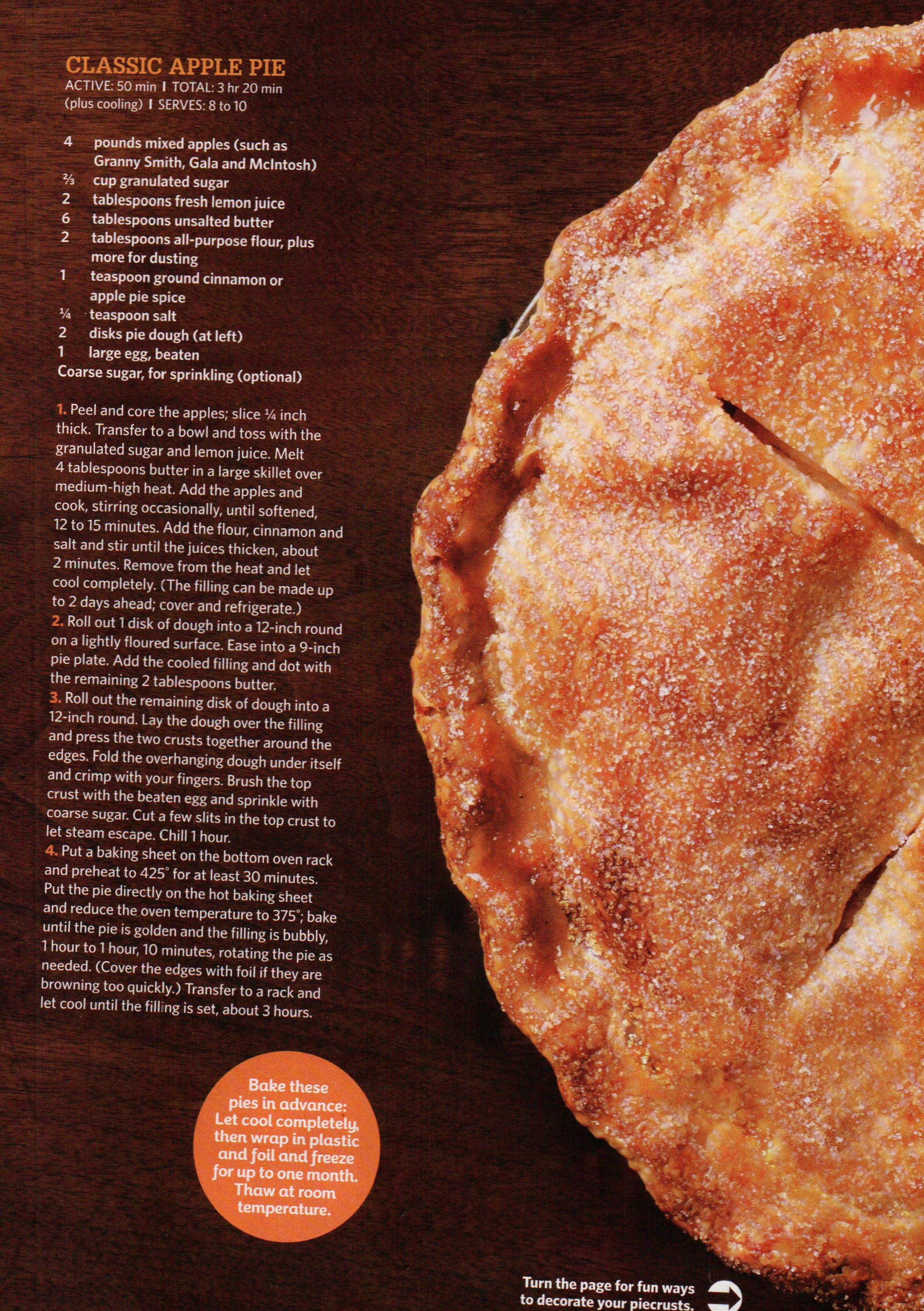 Apple pie recipe could be for thanksgiving or christmas or any time food network magazine nov page classic apple pie forumfinder Choice Image