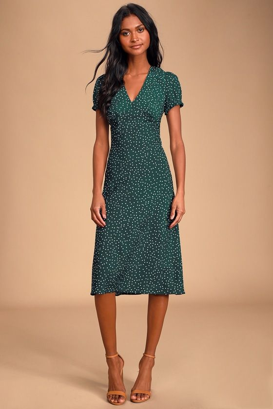 Tasteful Treat Green Polka Dot Short Sleeve Midi Dress
