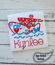 Tug Boat Applique - 4 Sizes! | What's New | Machine Embroidery Designs | SWAKembroidery.com Beau Mitchell Boutique
