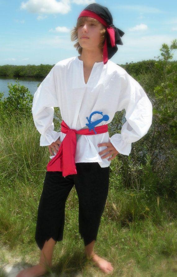 Womens Pirate Costume Shirt Red/White Stripes #diypiratecostumeforkids