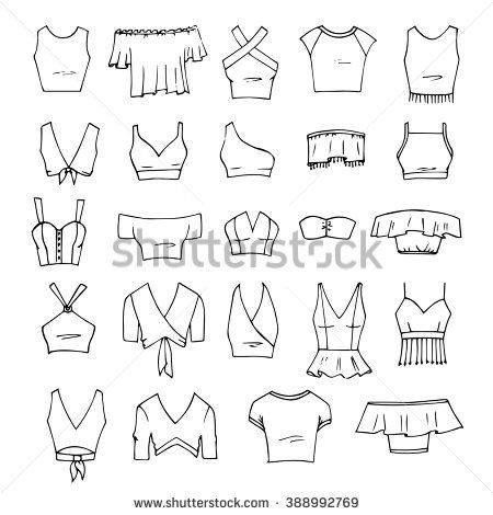 7b900211a82 Hand drawn vector clothing set. 24 models of trendy crop tops isolated on  white.