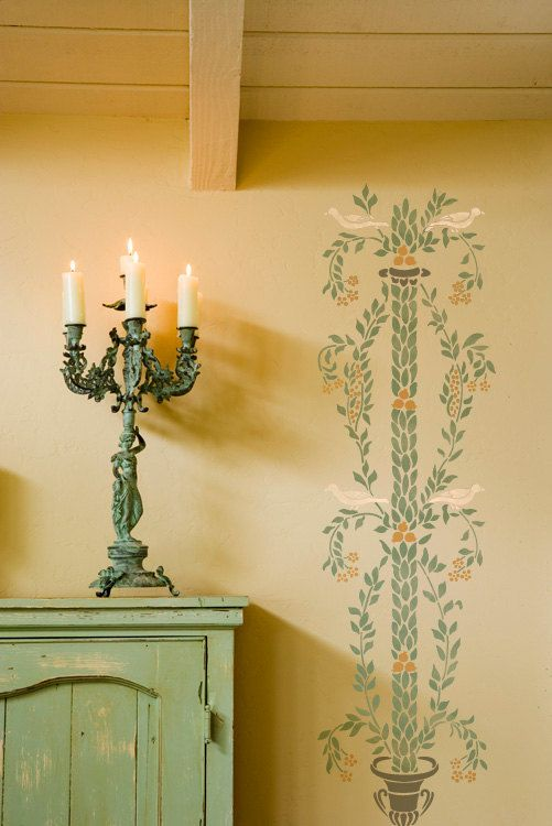 Pompeii Inspired Wall Patten Stencil Botanical Column for DIY Wall ...