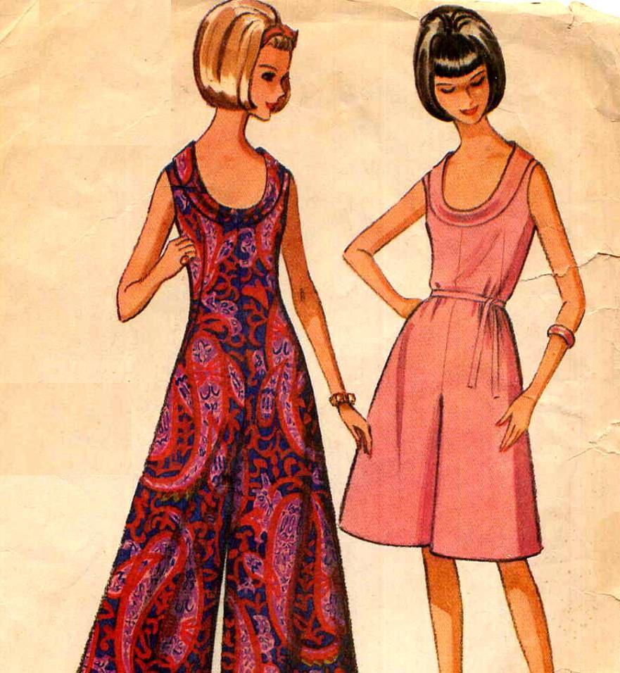 Cowl Neckline Wedding Gown Pattern: 1960s Mod Palazzo Jumpsuit Pattern McCalls 7681 Cowl