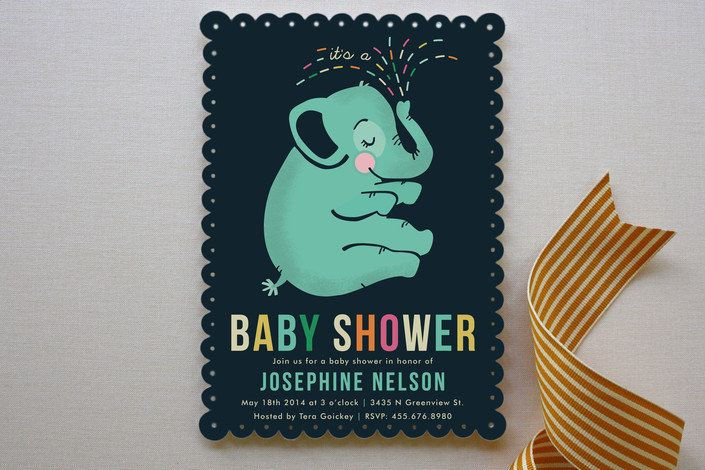 Baby Elephant Invite : Celebrate the little baby boy on the way with these customizable Minted baby elephant invites ($64 for 25).