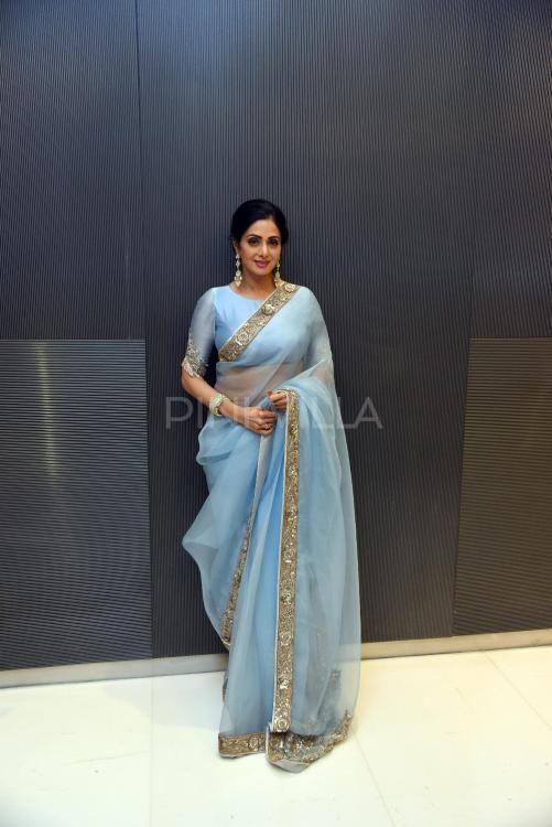 11e088fc50 PICS: Sridevi looks ravishing in blue as she promotes MOM in the ...