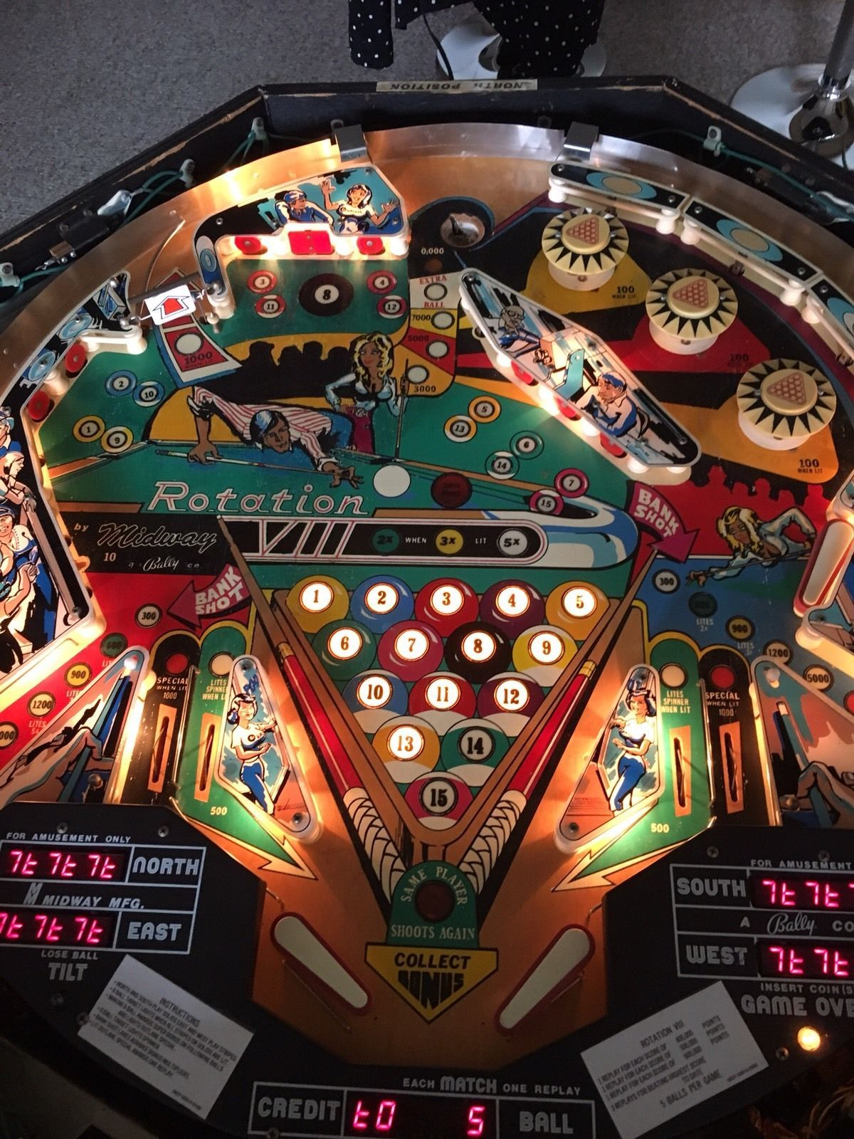1978 midways rotationvlll pinball machine vintage games