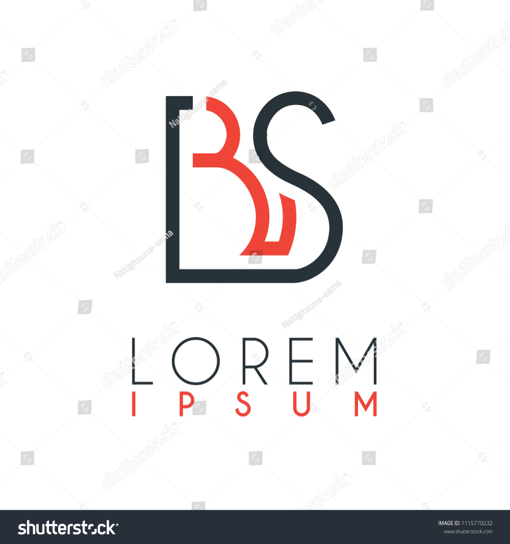 Logo Between Letter B Letter S Stock Vector Logo Alphabet Line Icon Design Business Lettering Image Abstract Images