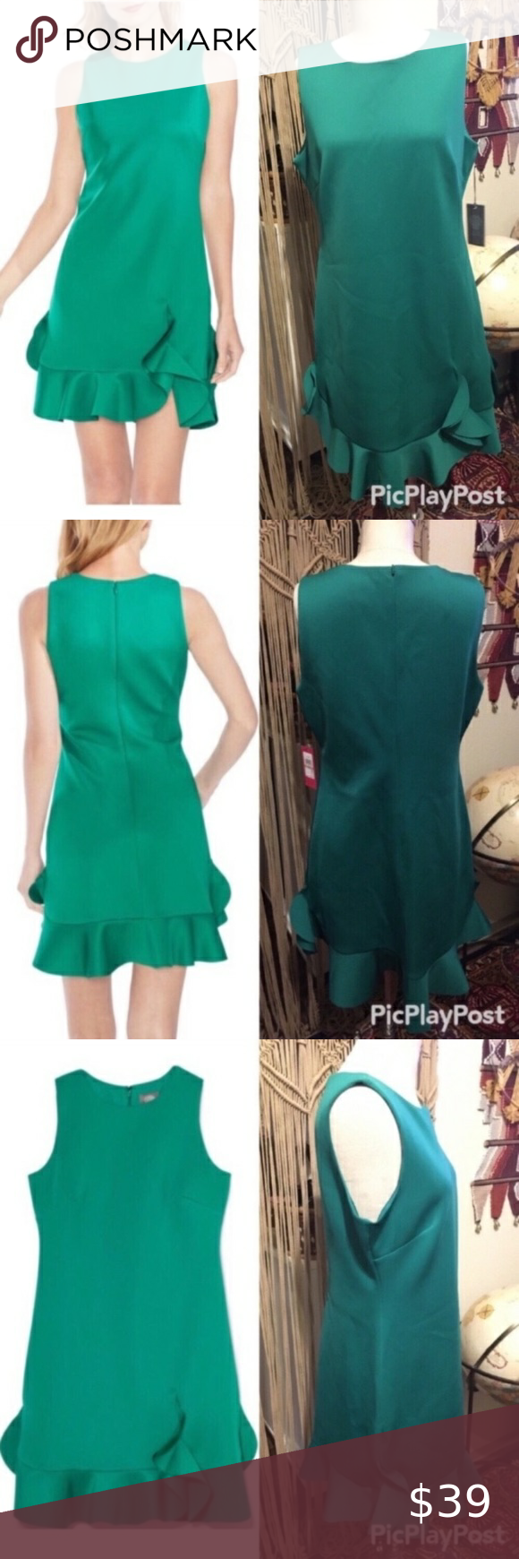 Vince Camuto Scuba Ruffle Hem Green Dress 12 Form Fitting Without Being Tight Silky Smooth Emerald Green Dress Looks In 2020 Green Dress Fashion Emerald Green Dresses [ 1740 x 580 Pixel ]