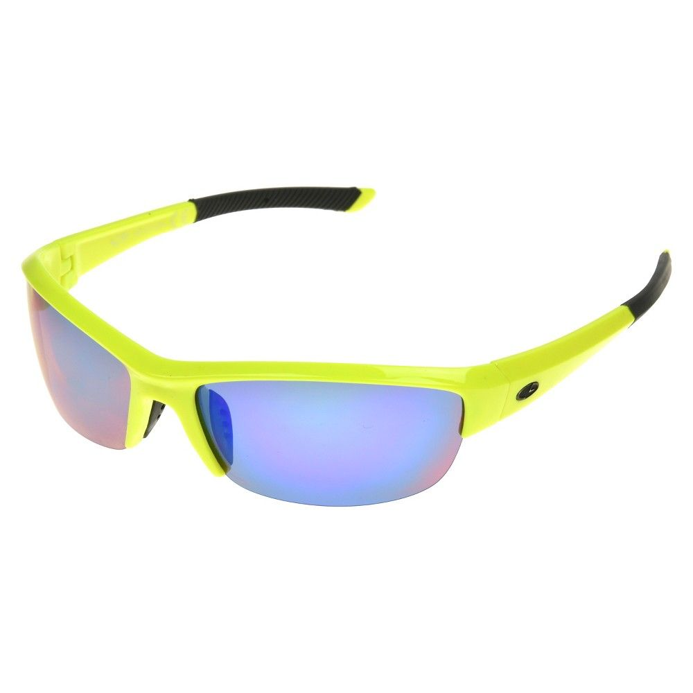 Men's Semi Rimless Polarized Performance Sunglasses with Green Mirror Lenses - Yellow - C9 by Champion