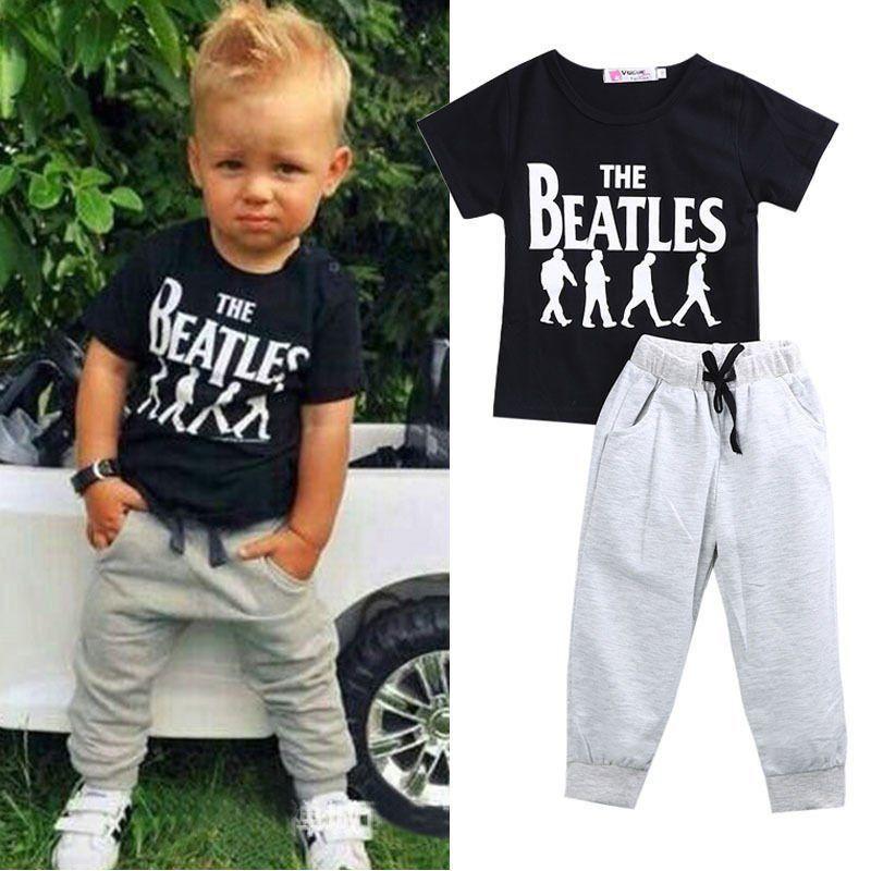 03f479b2ae3  10.75 - 2Pcs Toddler Baby Boy Kids Casual Clothes T-Shirt Tops Long Pants  Trousers Set  ebay  Fashion