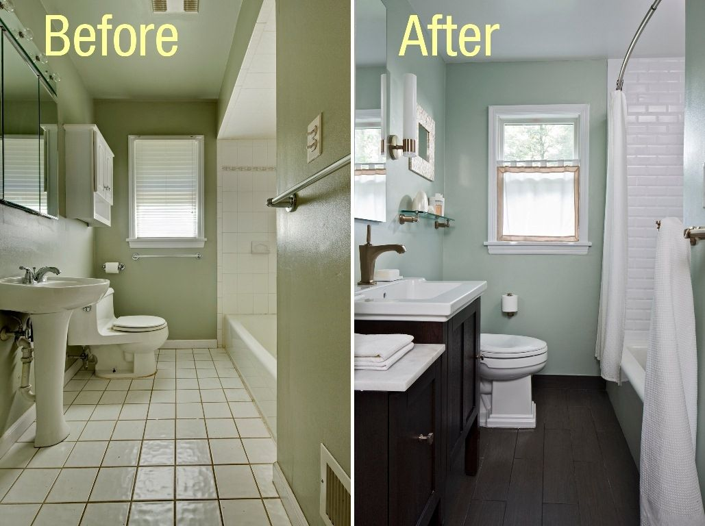 Small Bathroom Wall Painting Ideas Bath Pinterest Wall - Before and after pics of small bathroom remodels