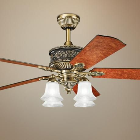 52 Kichler Corinth 4 Light Antique Brass Ceiling Fan 4f789 Lamps Plus Brass Ceiling Fan Ceiling Fan Ceiling Fan With Light