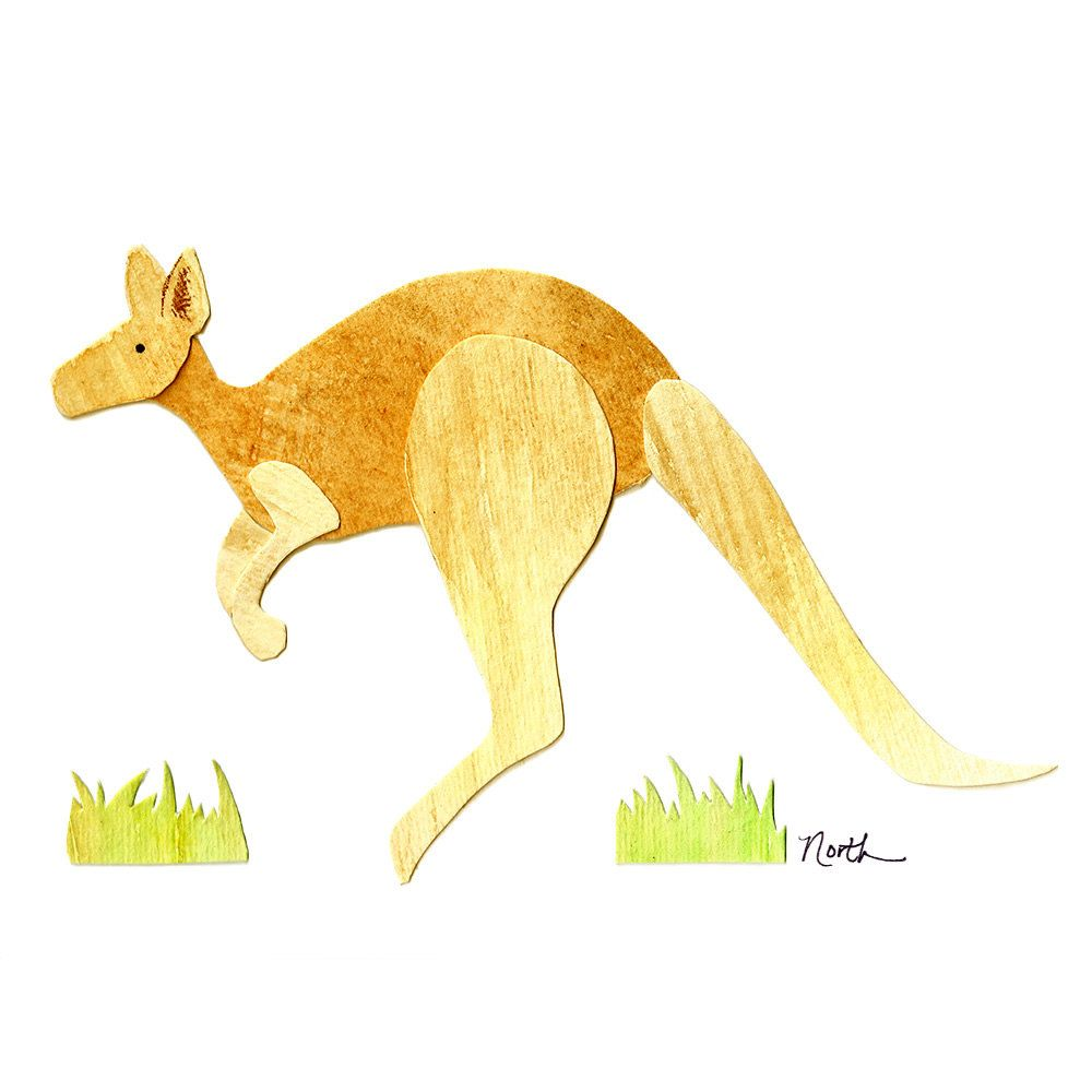 Hopping KANGAROO Watercolor Print 8x10 - Australian animal, nursery ...