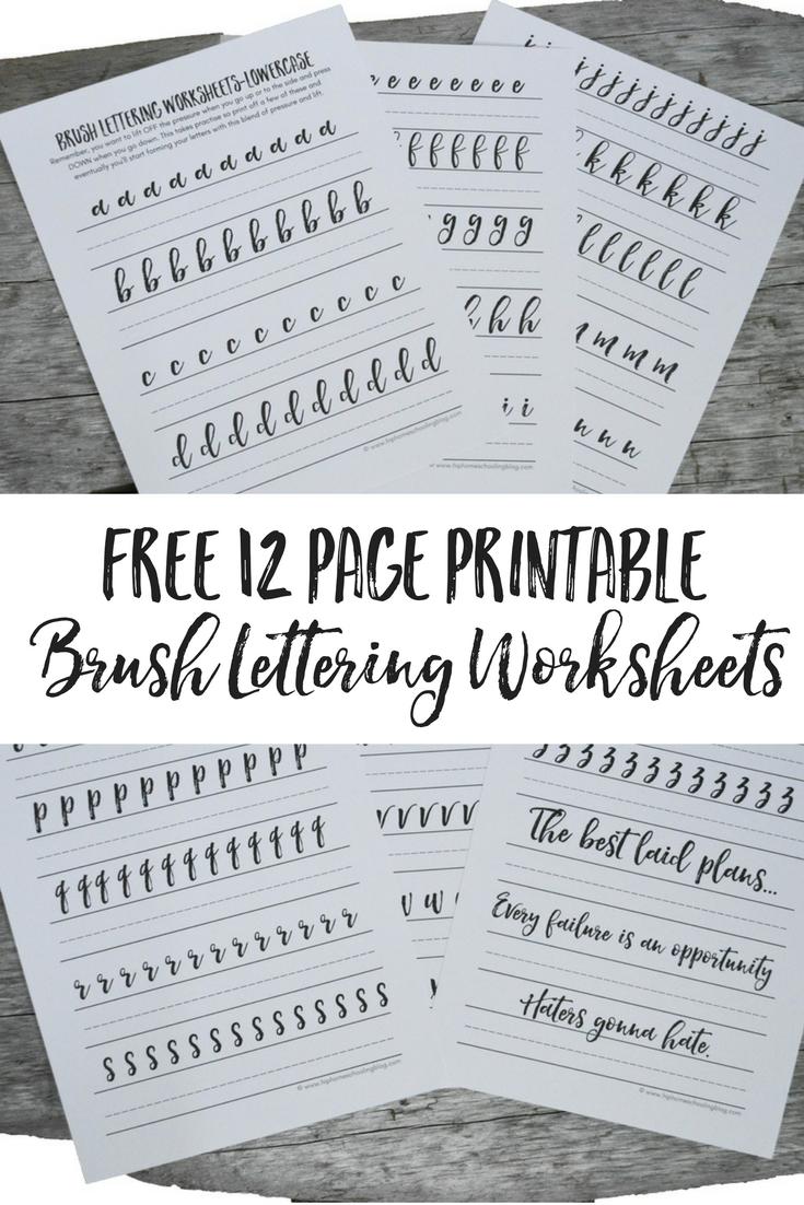 Free brush lettering worksheets pens