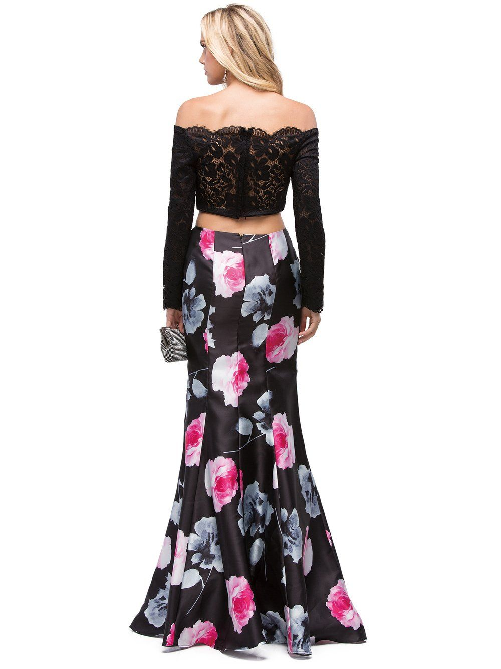 Dq lace off the shoulder long sleeved mermaid with floral